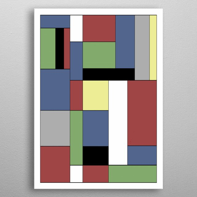 Abstract geometric minimalist design by R. Trickett. Inspired by the works of Piet Mondrian. metal poster