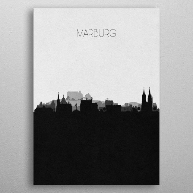Black and white skyline illustration of Marburg, Germany. This minimalist design features touristic landmarks and buildings of the city. metal poster