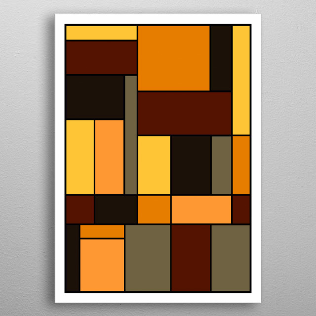 Abstract geometric design using Autumn colors by Ed Trickett metal poster