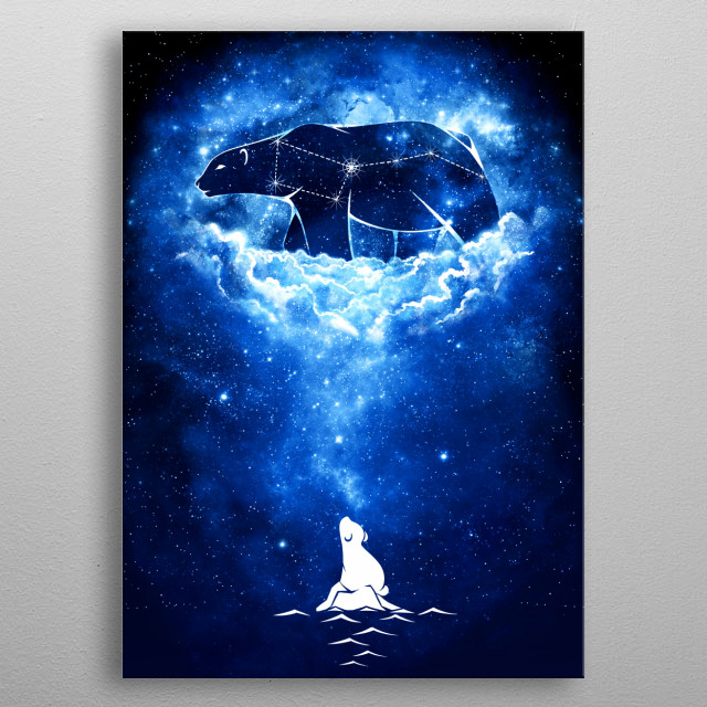 Starry Frozen Sky - an interpretation of the big dipper in the sky, and a small polar bear cub looking up at it  metal poster