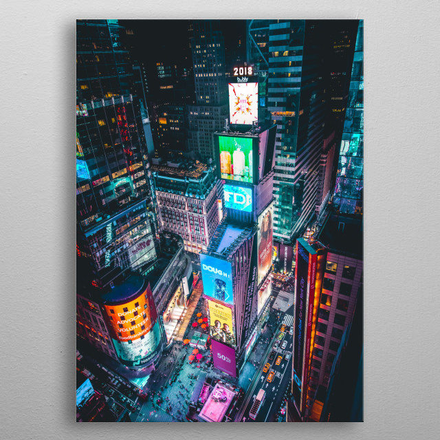 Times Square is a major commercial intersection, tourist destination, entertainment center and neighborhood in the Midtown Manhattan section metal poster