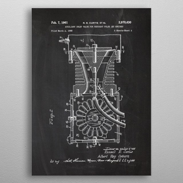 1958 Auxiliary Inlet Valve for Resonant Pulse Jet Engines - Patent Drawing metal poster