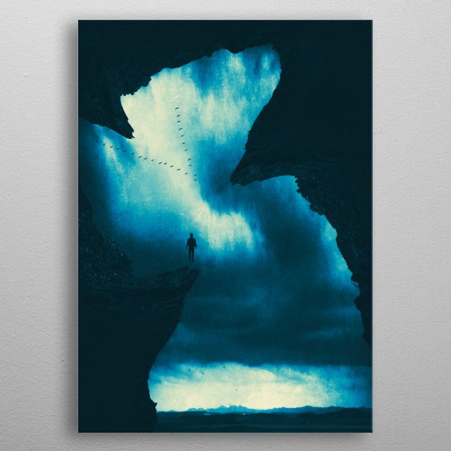 Surreal dreamscape - view from a cave into a landscape with a figure levitating metal poster