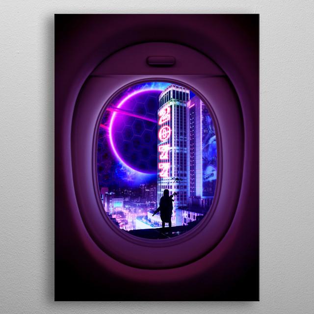 2077 on airplane window metal poster