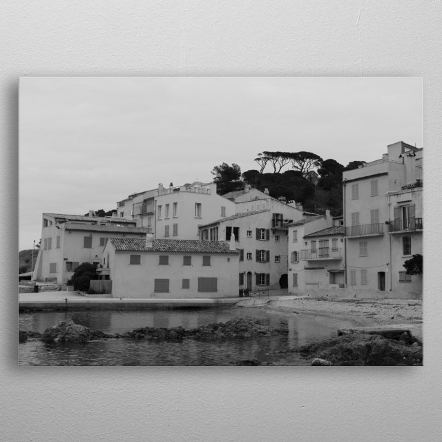 Lonely town saint-Tropez by Tom Vandenhende metal poster