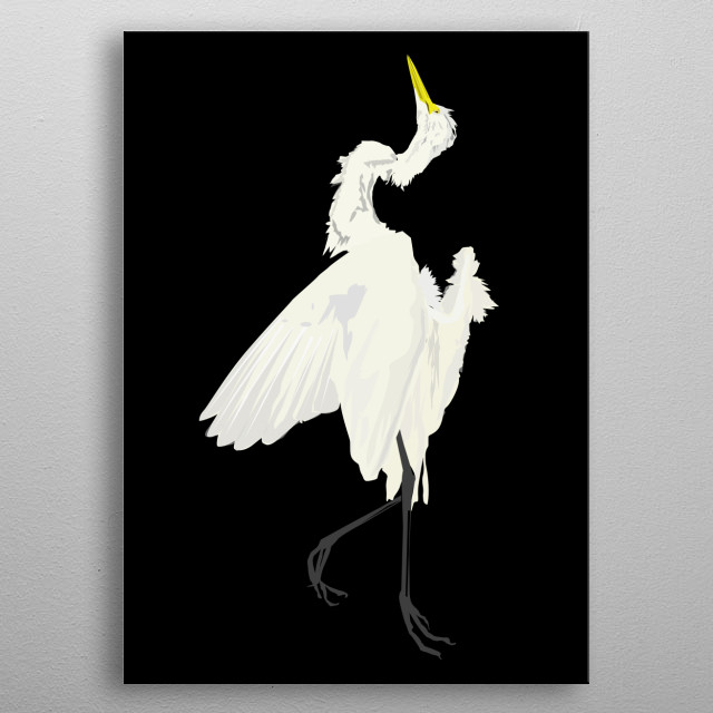 Dead Egret an Artwork by Enrique Anonat III metal poster