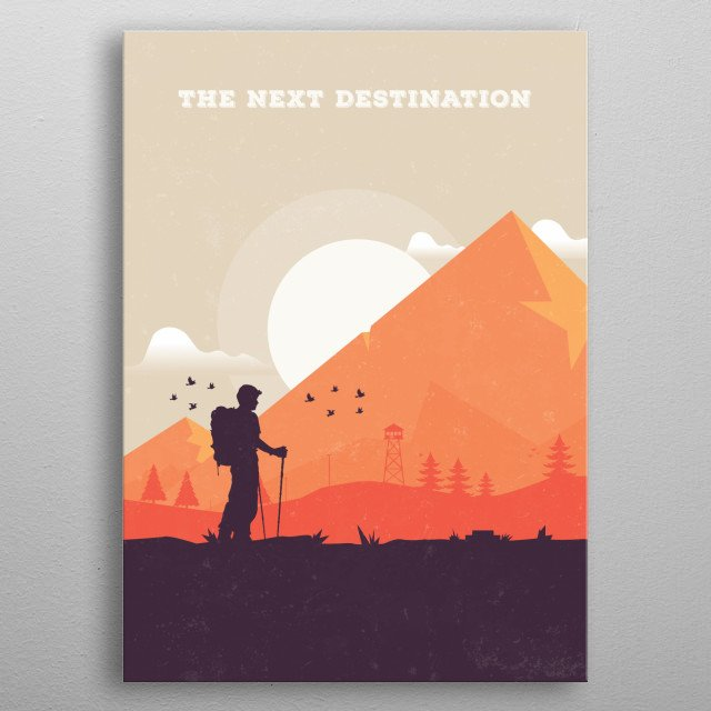 The Man on his journey starting to have a wonderful journey along the mountains and jungle. Its inspired by myself as i love to travel alot  metal poster
