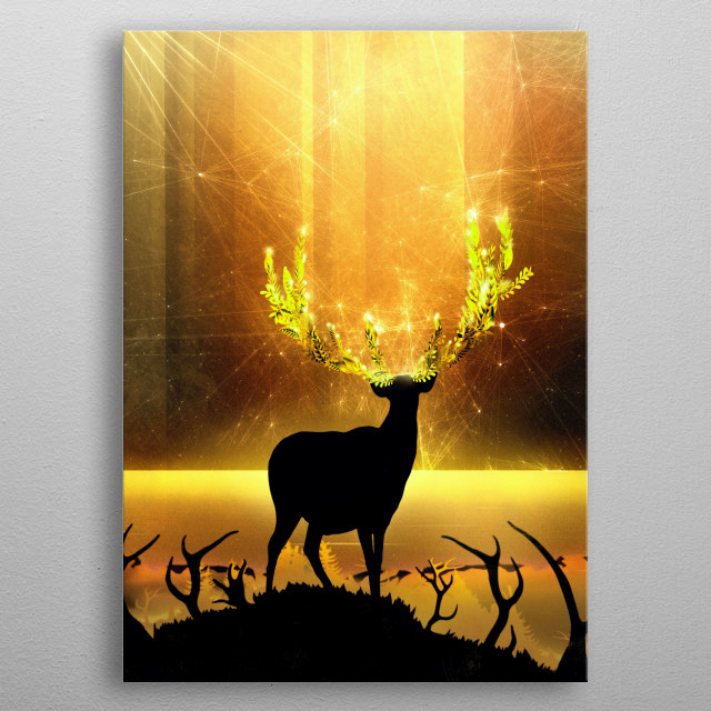 A golden glowing deer is looking up to a celestial sky, enjoying the enchanted and mystical landscape. The epic light turns into a beautiful metal poster