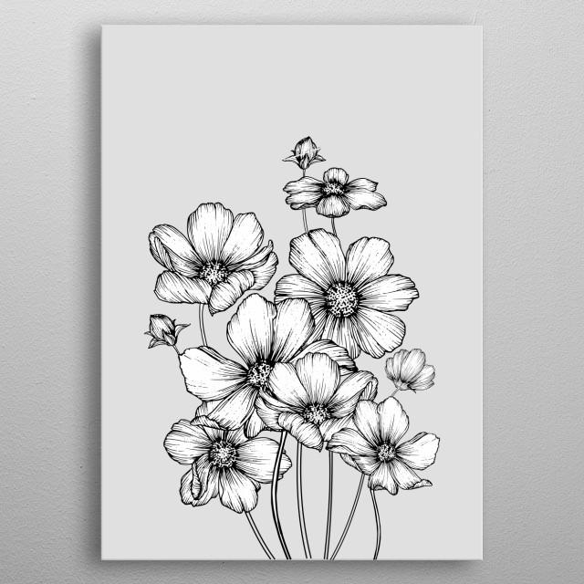 flowers metal poster