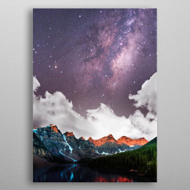 A purple milky way over the lake  metal poster