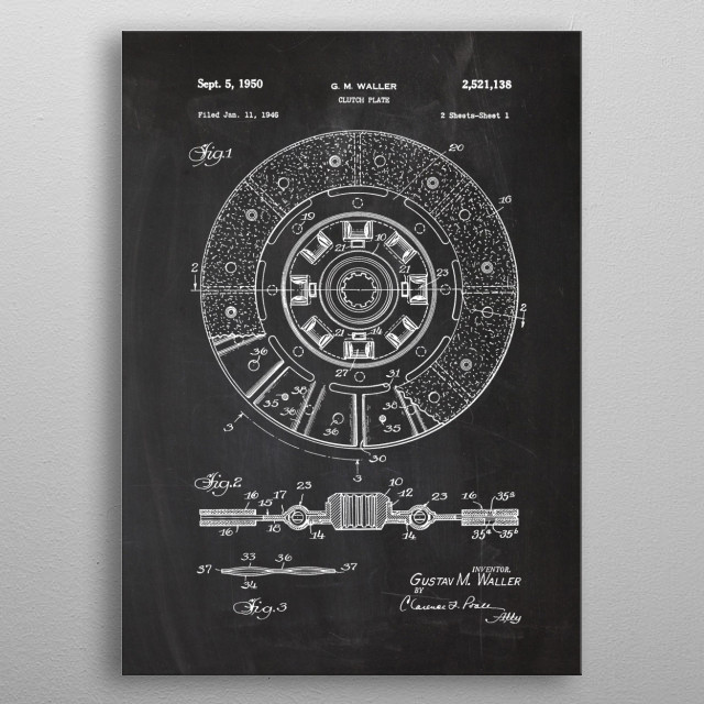 1946 Clutch Plate - Patent Drawing metal poster