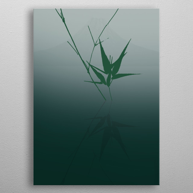 Bamboo growing out of the calm lake and is reflected in the water with a Japanese mountain in the background. metal poster