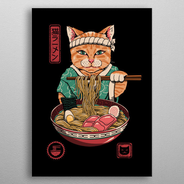 Neko in a traditional kimono eating authentic ramen. metal poster
