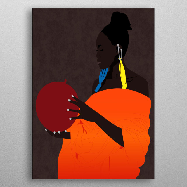 girl from Africa first time sees balloons and use them as earrings metal poster