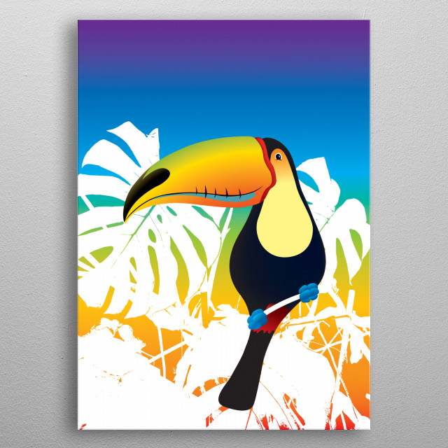 Colorful illustration of Toucan with white leafs in background. metal poster