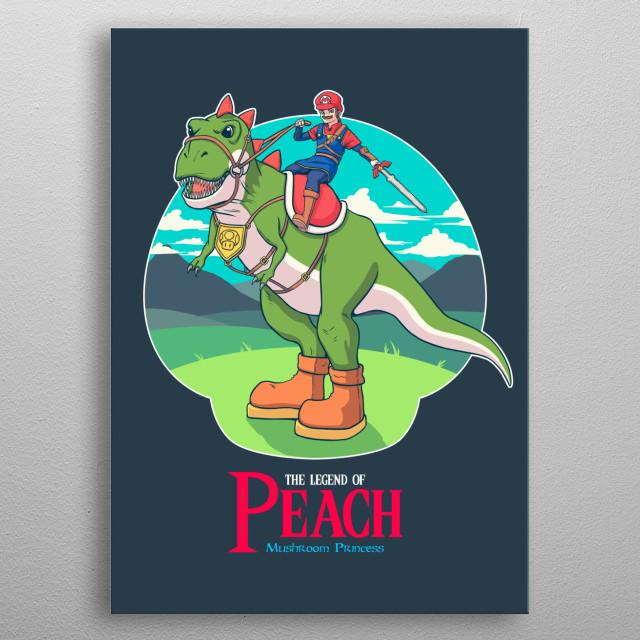 A plumber hero riding his wild t-rex. metal poster