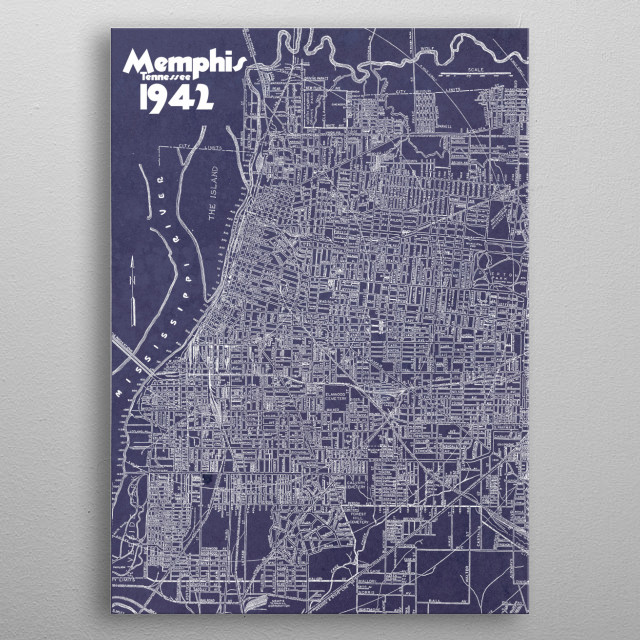 Graphic alteration of a vintage 1942 map of Memphis, TN. Map from the Memphis Chamber of Commerce. metal poster