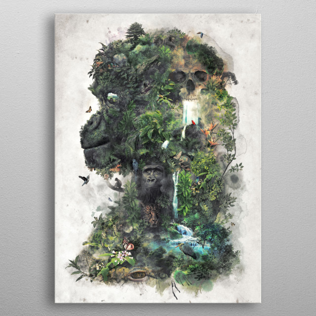 King of the Jungle a surreal landscape of the forested jungles of the world ruled by the primates and the predators of the ancient world. metal poster