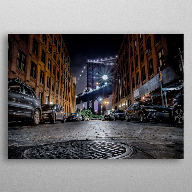 Dumbo, short for Down Under the Manhattan Bridge Overpass, is a neighborhood in the New York City borough of Brooklyn. metal poster