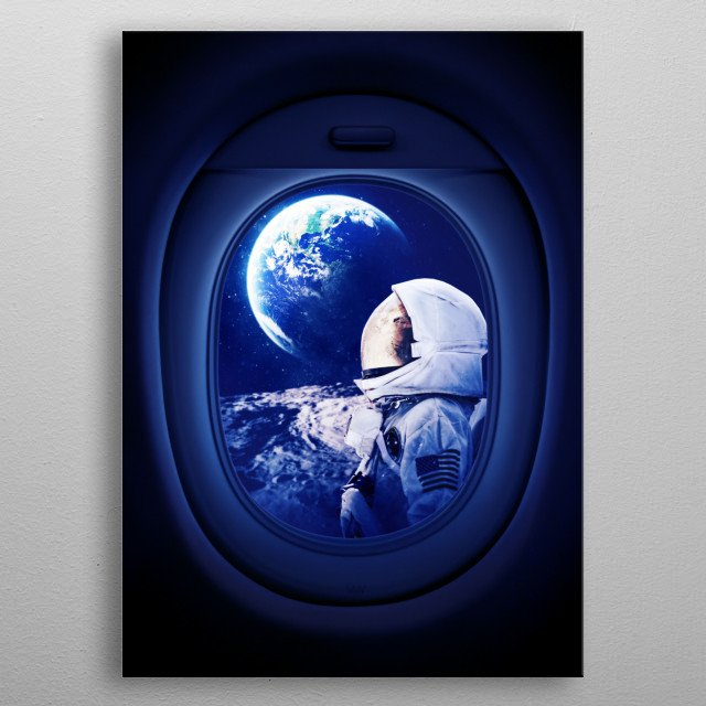 Far for home on airplane window metal poster