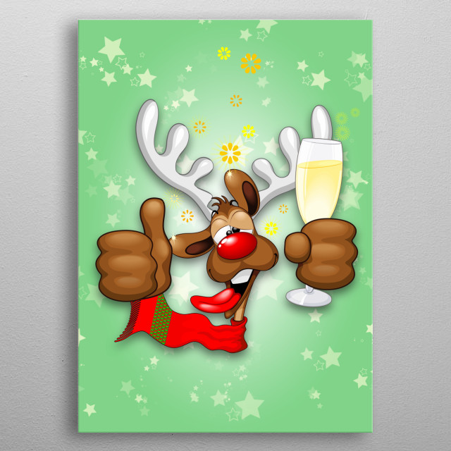 Funny Christmas Reindeer Cartoon Character, Looking really Drunk and groggy, after the Party. Vector Art Copyright BluedarkArt. metal poster