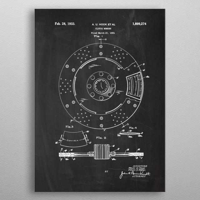 1931 Clutch Member - Patent Drawing metal poster