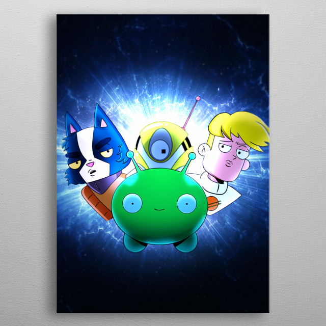 Digital art showcasing characters from the Netflix animated series Final Space. metal poster