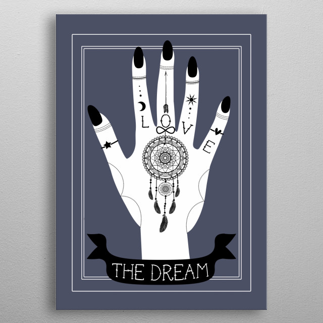 The Dream or a hand with a dreamcatcher tattoo metal poster
