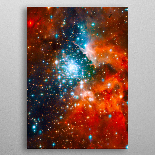 Detail of The Giant Nebula from an HST image. NGC-3603. Image credit: NASA/JPL/ESA metal poster