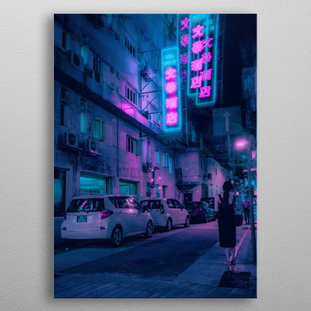 Neons in Macau. metal poster