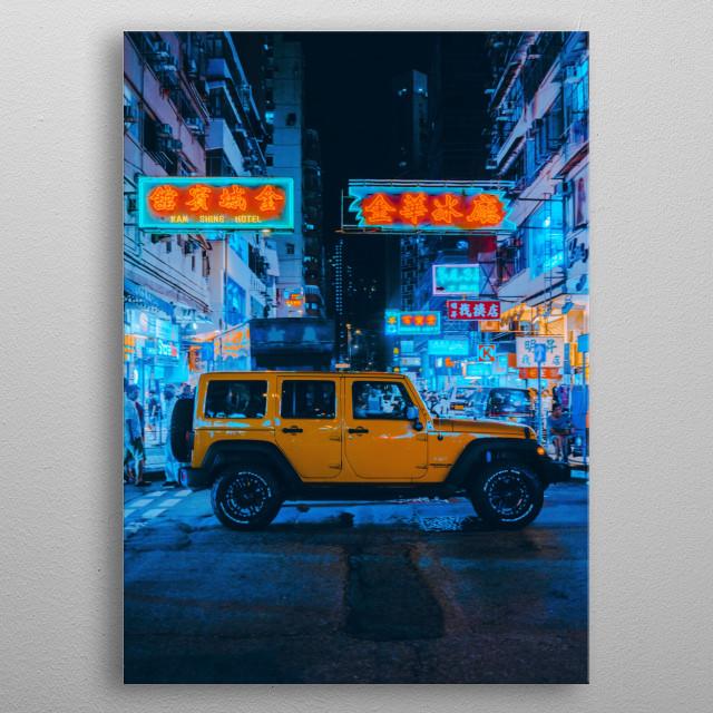 Neon Lights in Hong Kong metal poster