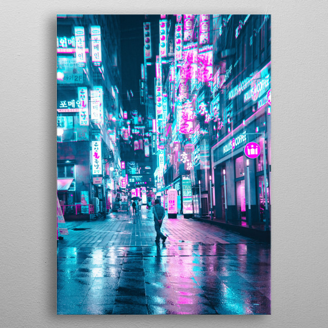 Neon Seoul and Rain metal poster