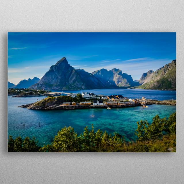 Sakrisoy Rorbuer in Lofoten islands, Norway. metal poster