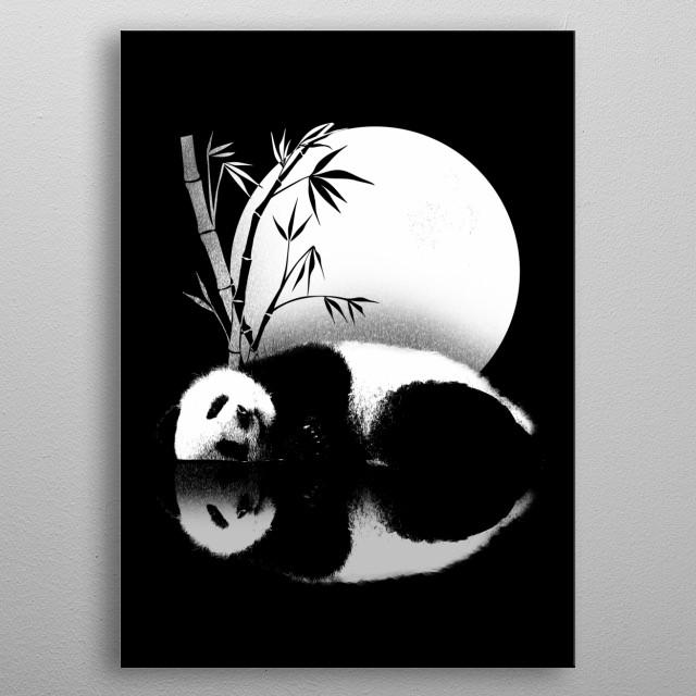 panda reflection metal poster