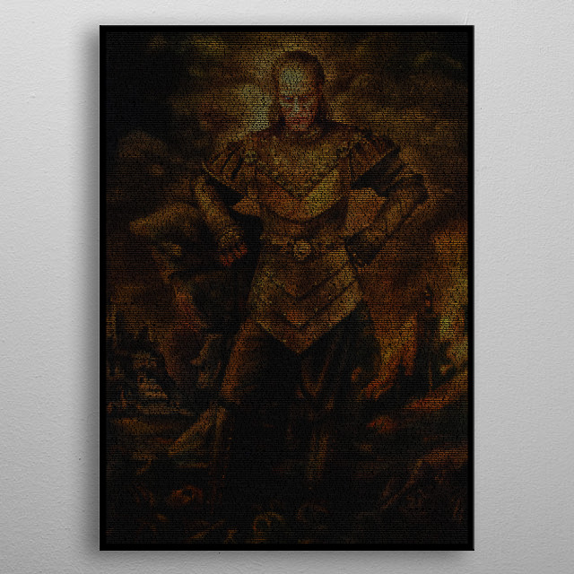 A typographic portrait of Vigo the Carpathian created from the Ghostbusters II screenplay. 23,035 words in Quorum font make the image. metal poster