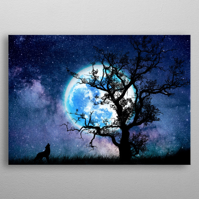 Moon and wolf metal poster