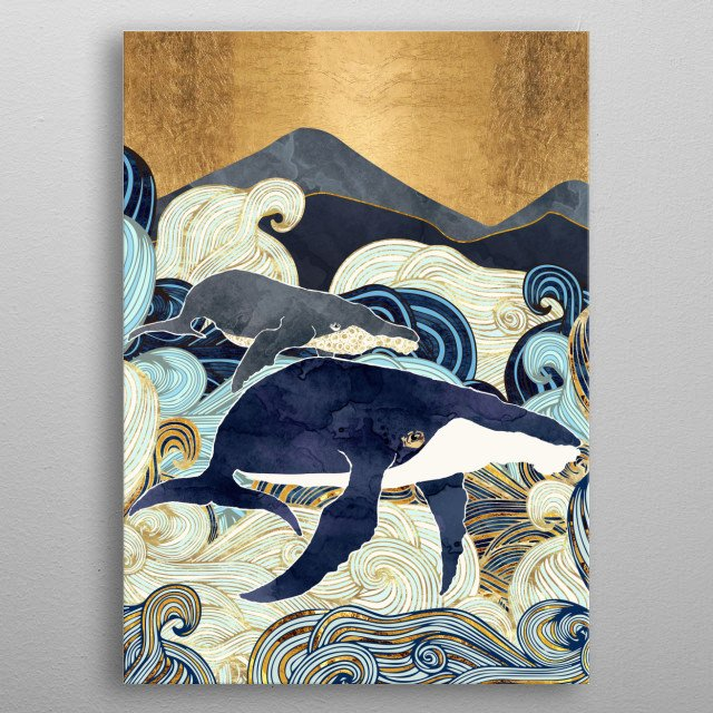 Abstract depiction of mother and child whales with blue, gold and waves metal poster
