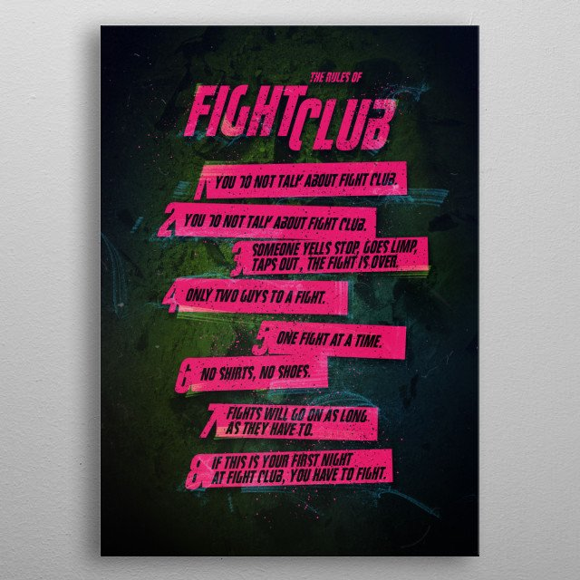 Fight Club Rules metal poster