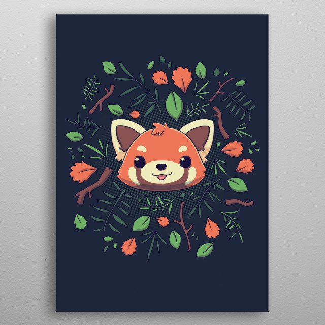 This cute little red panda is ready for autumn :3. metal poster