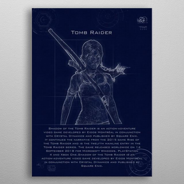 tomb raider blueprint metal poster