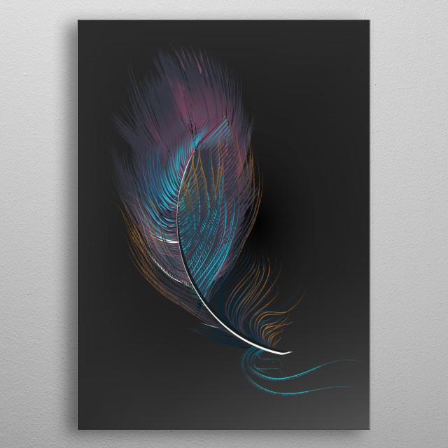 Multicolor feathers metal poster