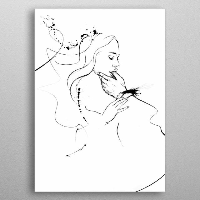 Linear drawing of erotic art. Black and white print Sweet lips, fingers in your mouth are so erotic and exciting metal poster