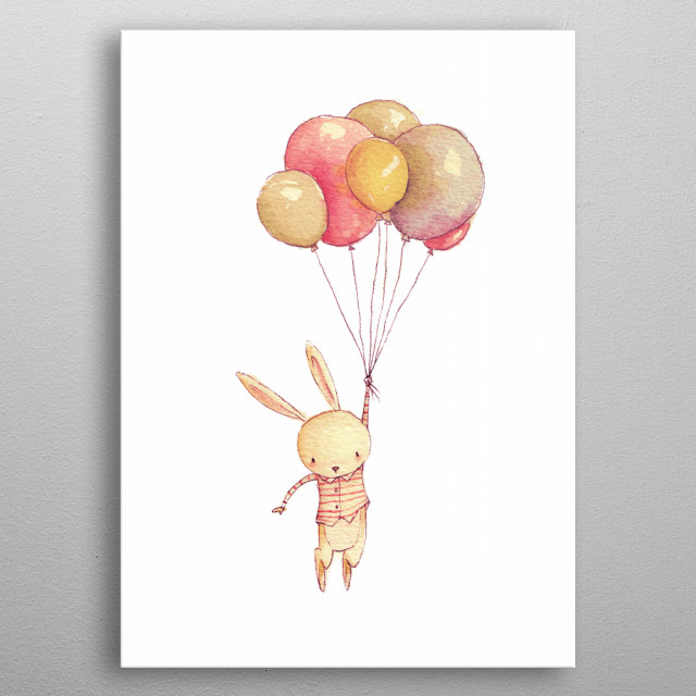 Flying bunny  metal poster