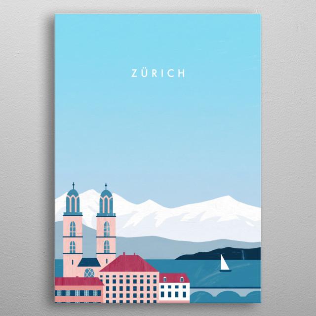 Illustration of Zurich metal poster