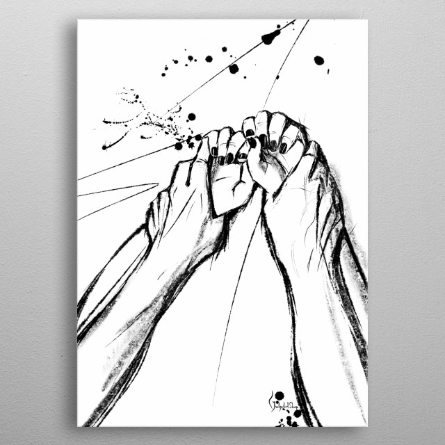 This is a poster of Hands of Lovers, made from my original line  drawing. A black and white print of minimalist your bedroom design.  metal poster