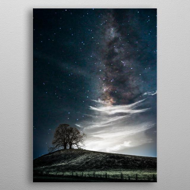 Tree & milky way  metal poster