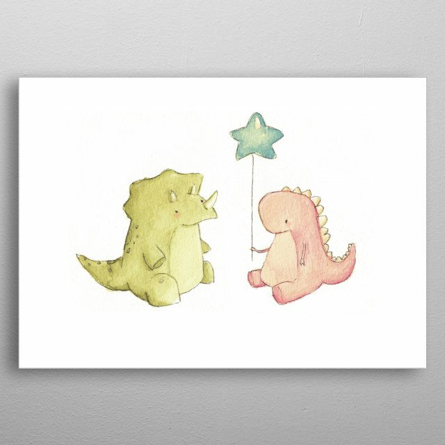 Dino friends metal poster