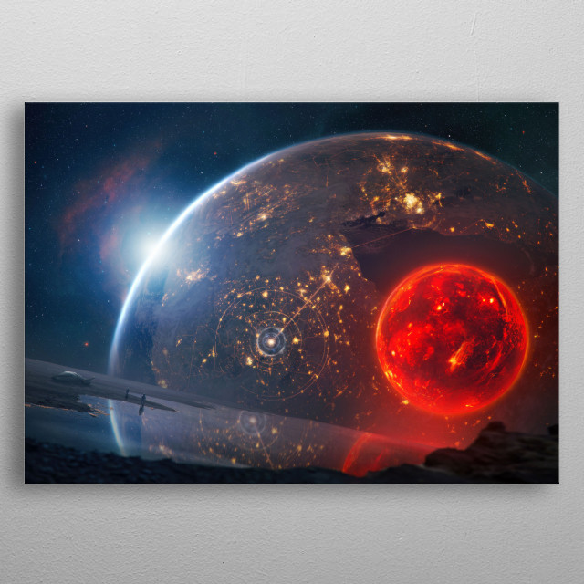 A red glowing volcanic moon passing by in an alien solar system far away. The other kind of blood moon.  metal poster