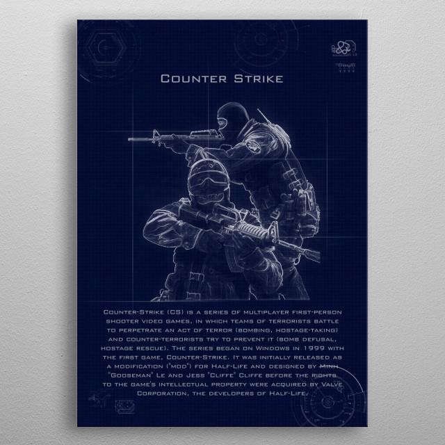 counter strike blueprint metal poster