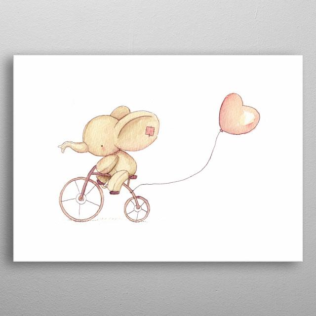 Cute Elephant riding his bike metal poster
